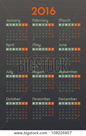 Calendar for 2016 on dark background, week starts Monday, vector