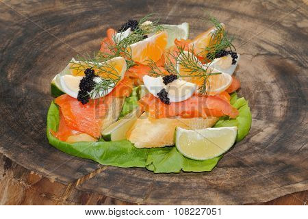 Baguette, Smoked Salmon, Egg, Caviar, Orange
