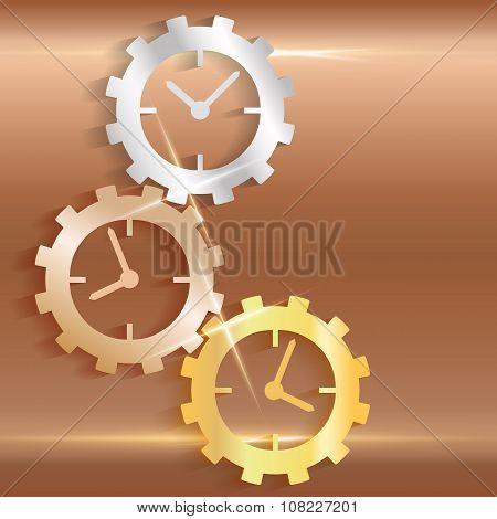 Concept Timeline Icons Clock Gears On Copper Background