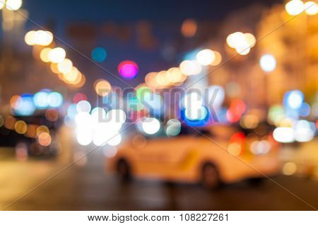 Blurred police car stop the trafic after terrorist attacks in Paris.  Police check background