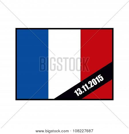 Mourning Ribbon On Flag Of France. Attack In Paris November 13, 2015 Year. Grief For Dead In Paris.