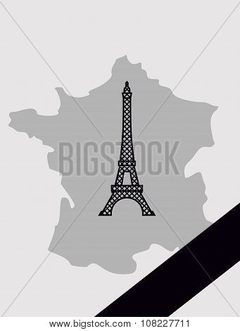 Map of France with mourning Ribbon. Illustration mourned in act of blast. French landmark Eiffel Tow