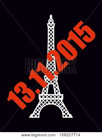 13 November 2015 blast in Paris. National symbol of France - Eiffel Tower with red text.