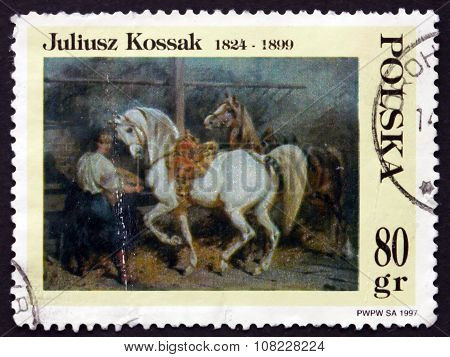 Postage Stamp Poland 1997 Feeding Horses In Stable, Painting