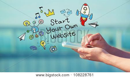 Start Your Own Website Concept With Smartphone