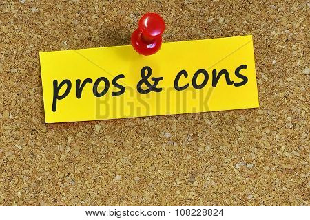 Pros & Cons  Word On Notes Paper With Cork Background