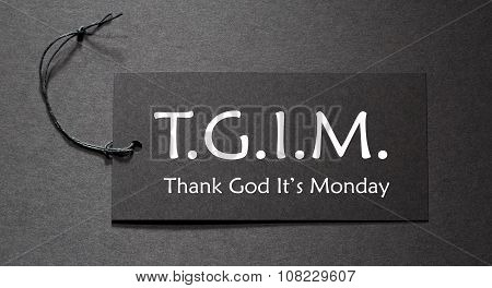 Tgim Text On A Black Tag