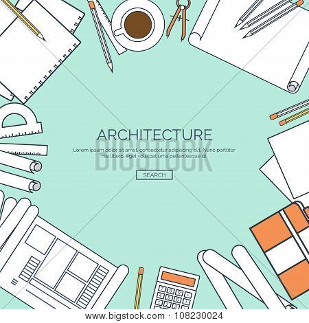Vector illustration, lined. Flat architectural project. Teamwork. Building ,planning. Construction.