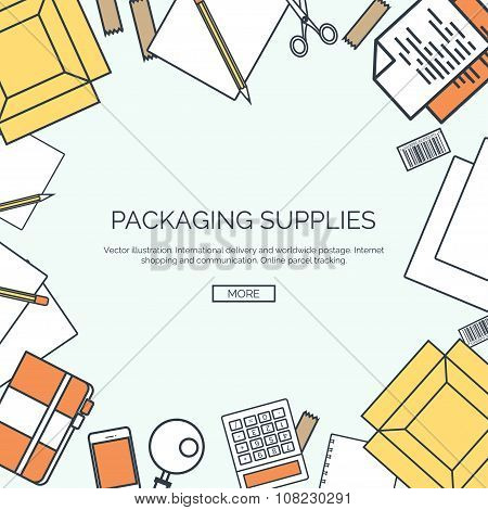 Vector illustration, lined. Packaging supplies. Delivery. Carton box. Loupe, diary,papers.