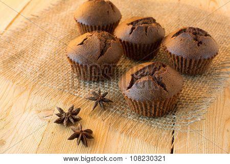 Chocolate Muffins On Sackcloth