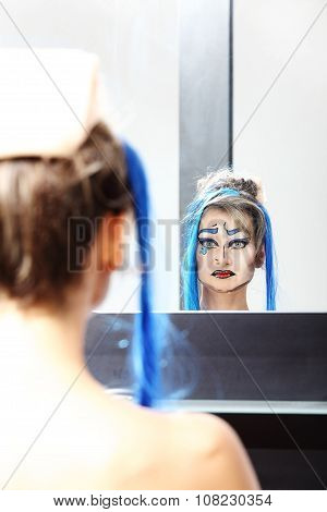 Model At Mirror, Make Up Drag Queen