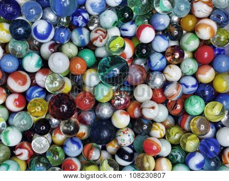 Close up of Colorful shiny marbles