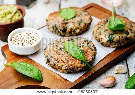 Vegan Quinoa Eggplant Spinach Chickpeas Burger