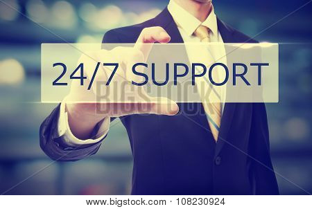 Business Man Holding 24/7 Support