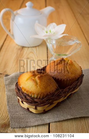 Muffins In Wicker Basket