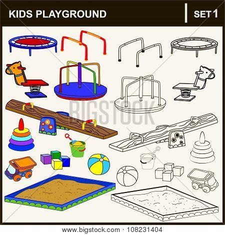 Set of isolated playground equipment. Vector illustration.