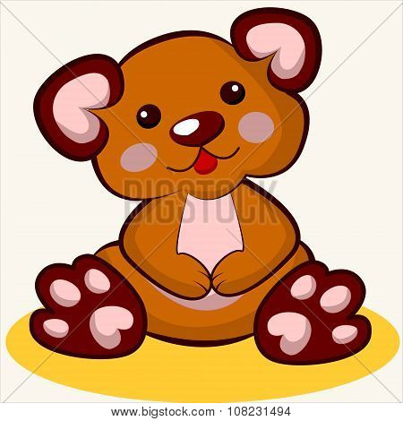 Fun toy. Cartoon vector Illustration of cute funny plush bear