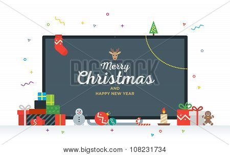 Large TV with Congratulatory text Merry Christmas and Happy New Year, gifts, presents, bauble, candy