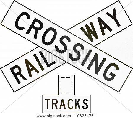 New Zealand Road Sign Pw-14 - Railway Crossbuck (multiple Tracks)