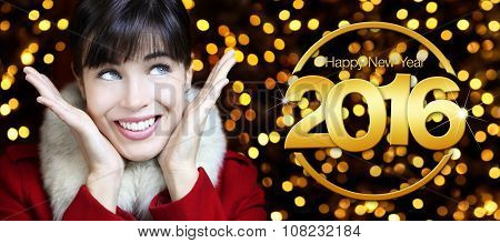 Happy New Year 2016, Woman Looks Up On Lights Background