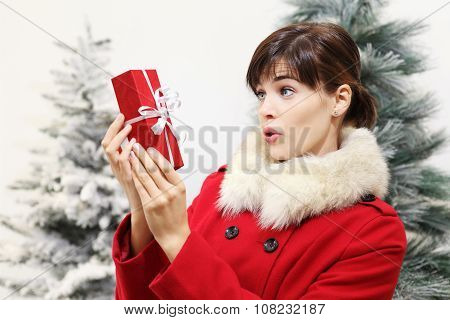Woman With Christmas Gift, Surprise