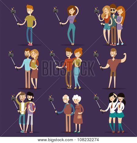 Selfie people isolated on blue background. People walking vector illustration. Selfie shot man, woman, teenagers, pensioners, gays. Vector selfie people set. Selfie vector concept modern life with