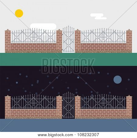 Metallic and brocks fence isolated on night background. Fences vector illustration. Fences railing vector isolated. Metall fence, long fence, vector fence. Fence silhouette construction isolated