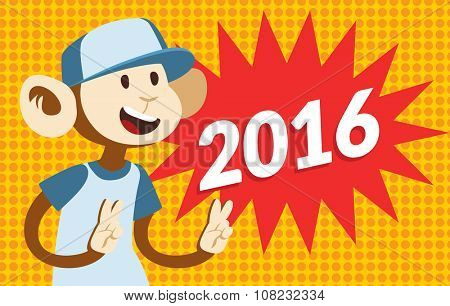 2016 New Year text and monkey classic pop art design vector illustration. 2016 text isolated on modern colorful background. Monkey new year background. Happy vector monkey. Bubble with 2016 text and