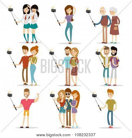Selfie people isolated on white background. People walking vector illustration. Selfie shot man, woman, teenagers, pensioners, gays. Vector selfie people set. Selfie vector concept modern life with