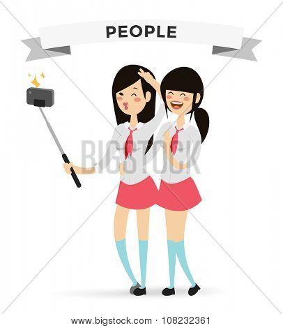 Selfie shots yong teenager school girls couple vector illustration. Selfie shot girls, friends. Vector selfie people set. Selfie vector concept modern life with selfie photo camera. Selfie smile girls