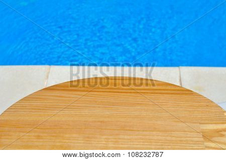 Cutting Board On A Background Of Pool