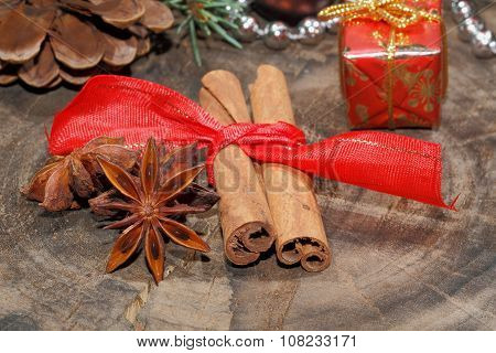 Cinnamon Sticks, Star Anise, Nuts, Christmas Decoration