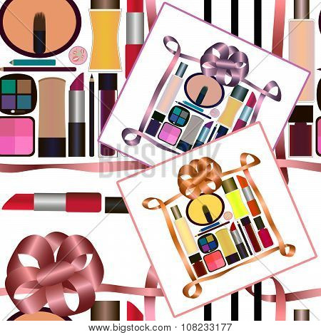 Seamless Pattern With Gifts Of Perfumery And Cosmetics