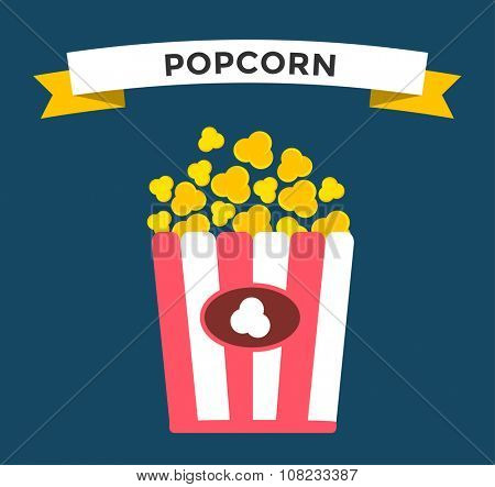 Popcorn box vector icon. Popcorn isolated flat style. Popcorn cinema  vector illustration. Red box popcorn opened. Popcorn logo, popcorn cinema, popcorn box, popcorn pack