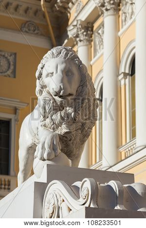 Sculpture Of A Lion Near The Entrance To Russian Museum In St. Petersburg