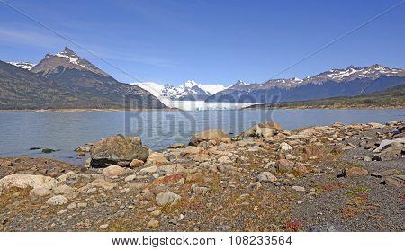 Glacial Plain, Lake, Glacier And Mountains