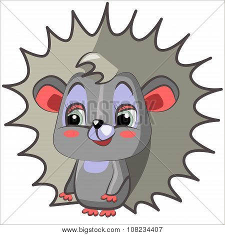 Vector isolated illustration cute cartoon of funny hedgehog