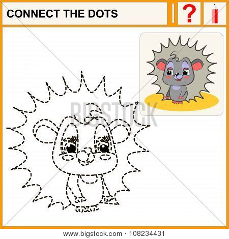 Connect the dots preschool exercise task for kids funny hedgehog