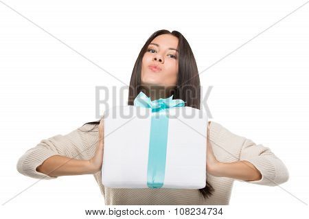 girl holding a big box off gift