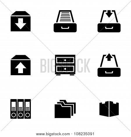 Vector Black Archive Icon Set