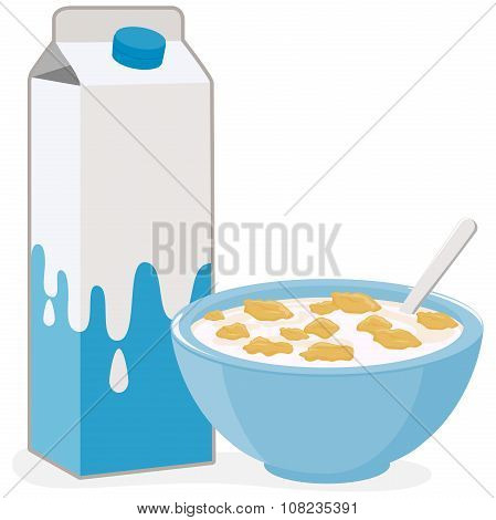 Bowl of cereal and milk carton