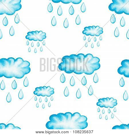 Watercolor rainy clouds with raindrops. Seamless pattern.