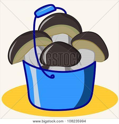 Cartoon vector Illustration of cute ceps in blue bucket