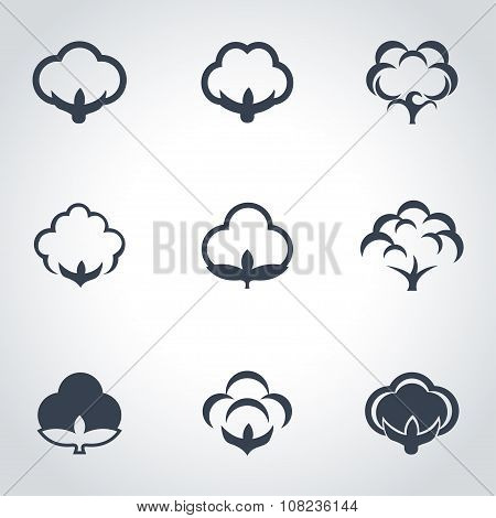 Vector Black Cotton Icon Set