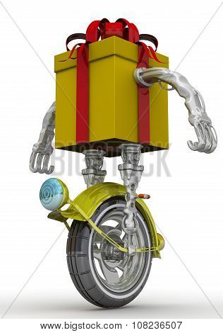 Gift box in the form of a robot on the wheel