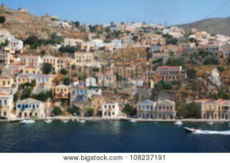 Greece. Island Symi. In Blur Style. In Blur Style