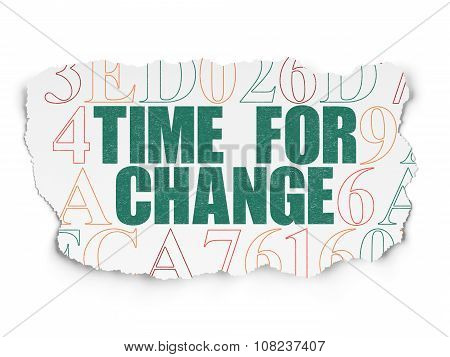 Timeline concept: Time for Change on Torn Paper background