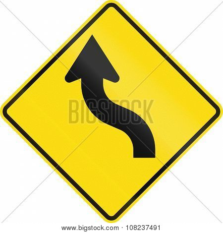 New Zealand Road Sign - Reverse Curve Less Than 60 Degrees, To Left