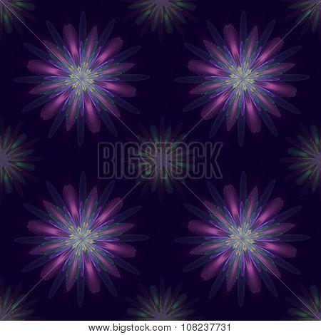 Fractal flowers in a seamless pattern on dark background