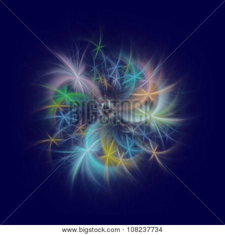 Fractal fireworks on dark blue background